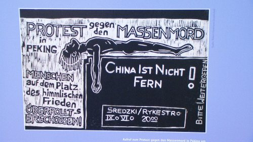 Banned East German flyer protesting Tiananmen Massacre; this image and above reproduced from the Alexanderplatz ausstellung