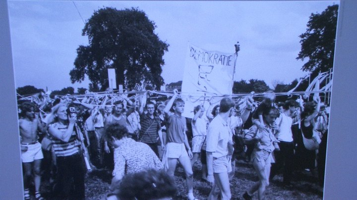 East German Students demonstrate in support of Chinese colleagues at a Protestant youth gathering, DDR