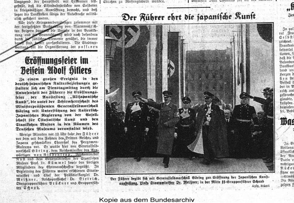 Adolf Hitler visits an exhibition of Japanese art in Berlin, September 1939 [Source: Bundesarchiv, Berlin]