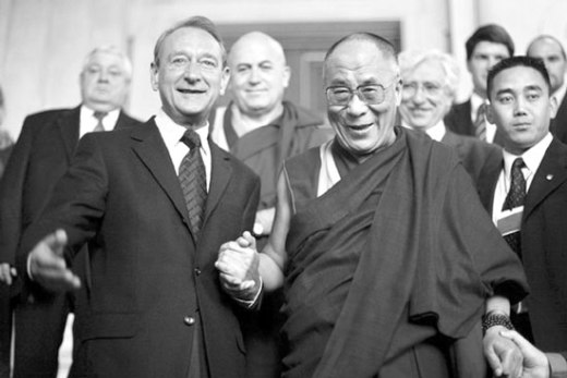 Dalai Lama with Mayor Delanoe in Paris, 2008