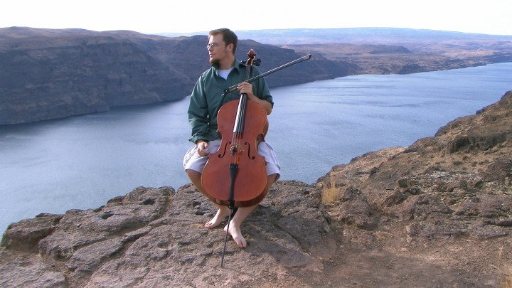 Adam Cathcart with Damon Grey cello, Columbia River gorge, eastern Washington State