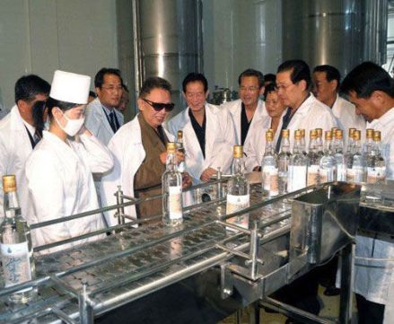 Kim Jong Il at Dadonggang Enterprises, Pyongyang, 29 Sept. 2009, via Xinhua/KCNA