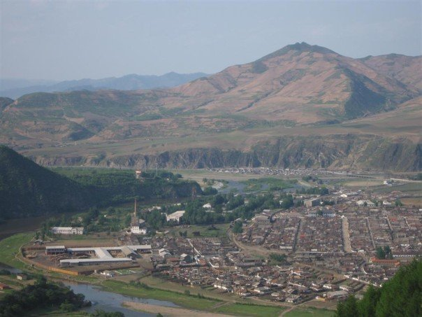 Musan, North Hamgyong province, DPRK, seen from above the upper Tumen River and the Yanbian Korean Autonomous Prefecture -- photo by Adam Cathcart