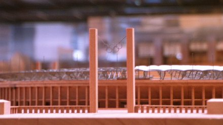 Berlin Olympic Stadium mini-model, Herzog & Meuron Architects, Hamburg, July 2009, photo by Adam Cathcart