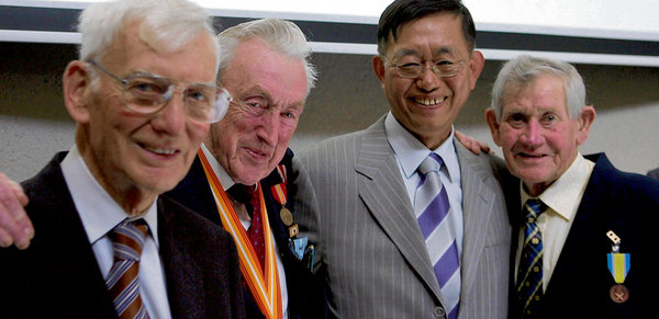 Kim Chang-yeob, South Korea's Ambassador in Dublin (2010-2013), greets Irish veterans of the Korean War. Ambassador Kim gave remarks at the University College Cork Korean Studies Conference on 15 February 2013.