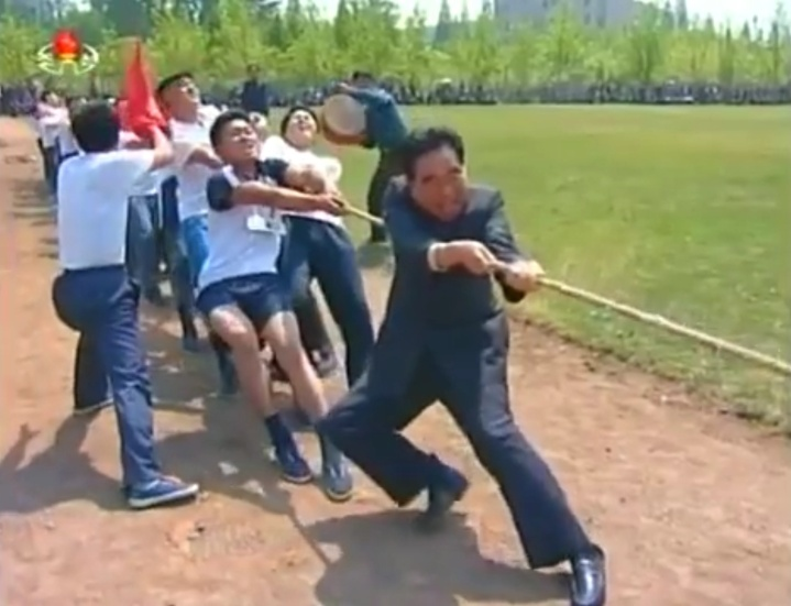 A North Korean tug-o-war in Pyongyang for May Day, 2014. Image via Chosun Central TV.