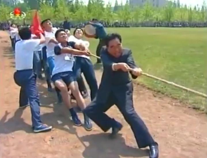 A North Korean tug-o-war in Pyongyang for May Day, 2014. Image via Chosun Central TV.