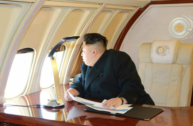 Kim Jong-un, presumably in the air over Pyongyang, February 2015