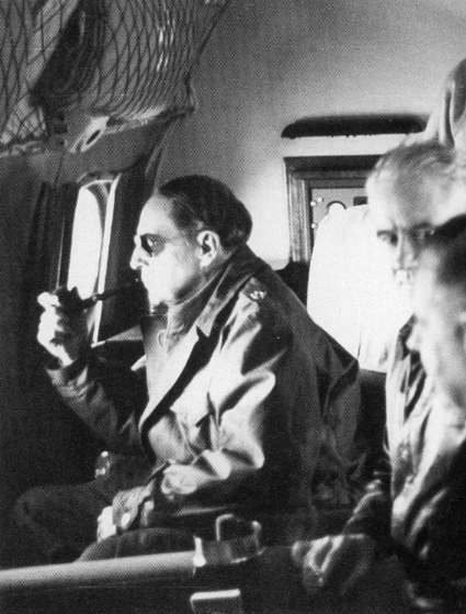 MacArthur surveys the Yalu River frontier, November 1950