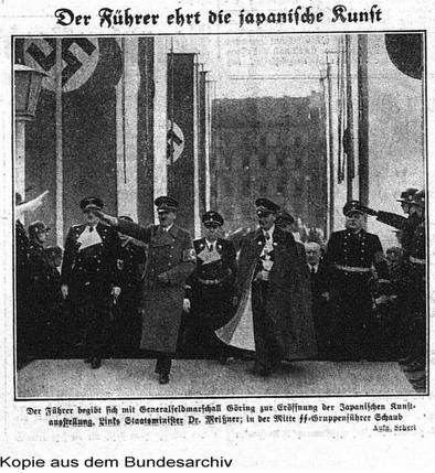 Hitler views Japanese art in Tokyo, 1939, via Bundesarchiv