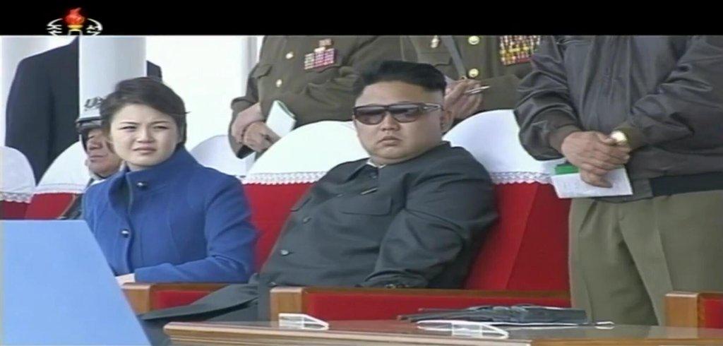 Kim Jong-un at Air Show on 9 May 2014, image via KCTV, Adam Cathcart